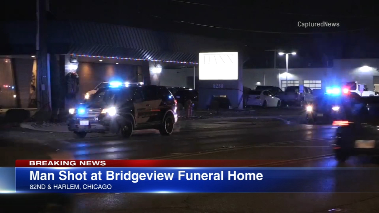 One person was shot at a Bridgeview funeral home Wednesday evening.