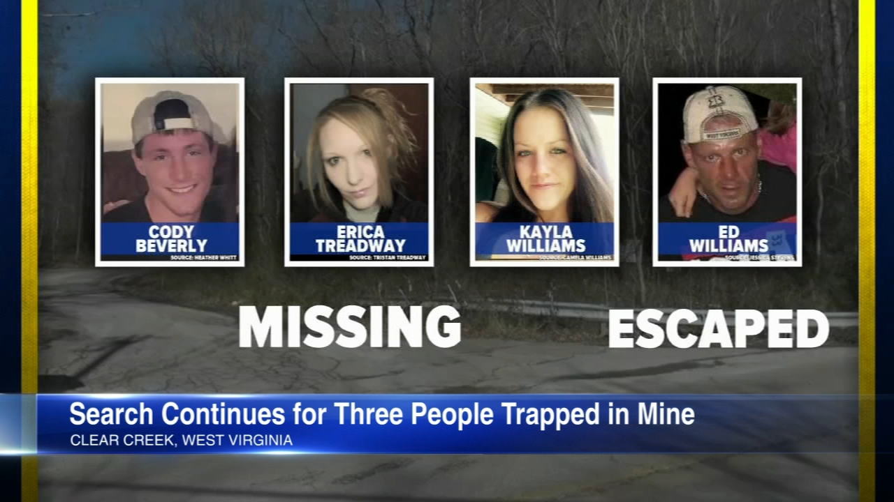 Authorities are racing to rescue three people trapped in an inactive West Virginia mine, state and mine company officials said.