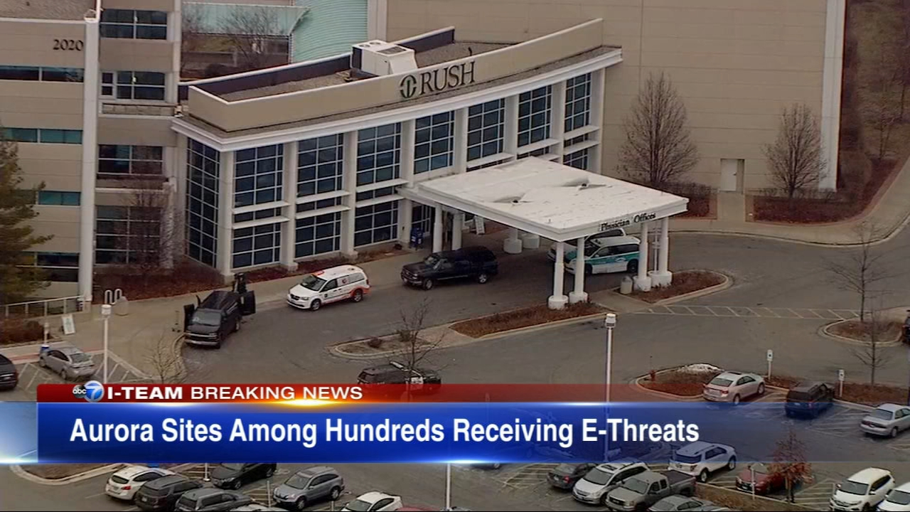Several sites in Aurora, including Rush-Copely Hospital, received emailed hoax bomb threats believed to be part of a nationwide extortion attempt.