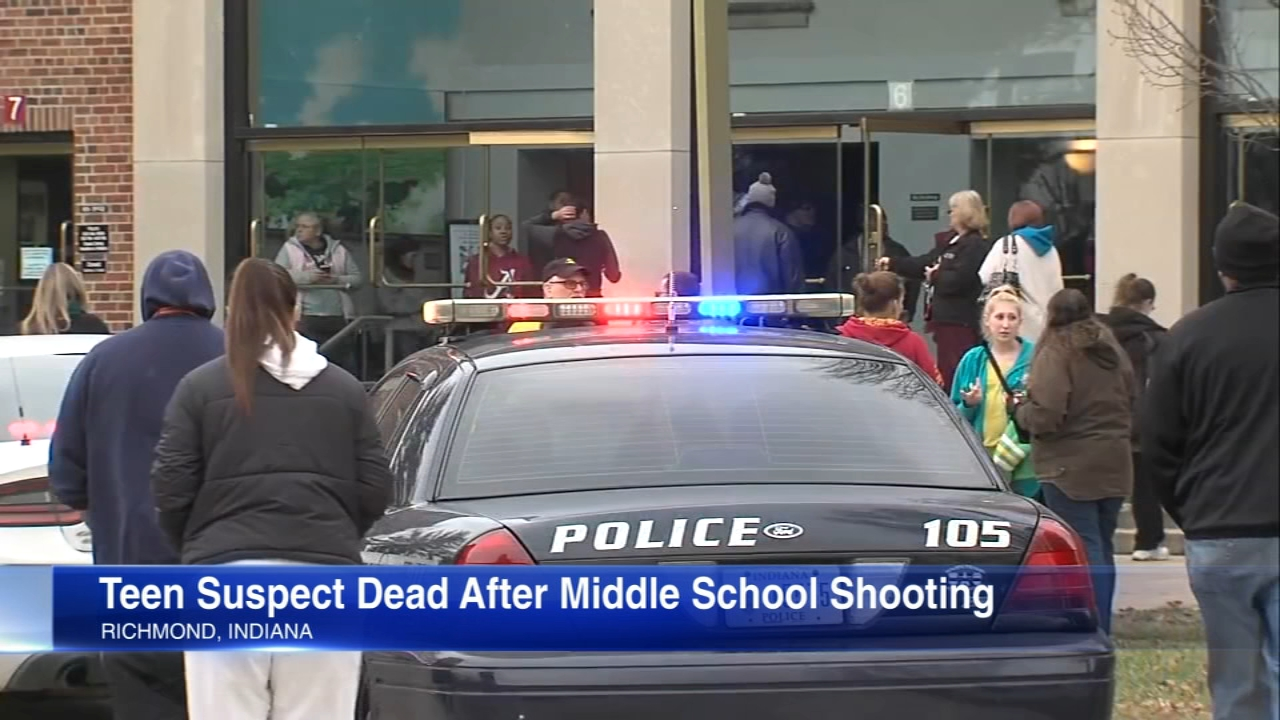 A teenage suspect fatally shot himself after exchanging fire with police inside a middle school in Richmond, Indiana, Indiana State Police said.