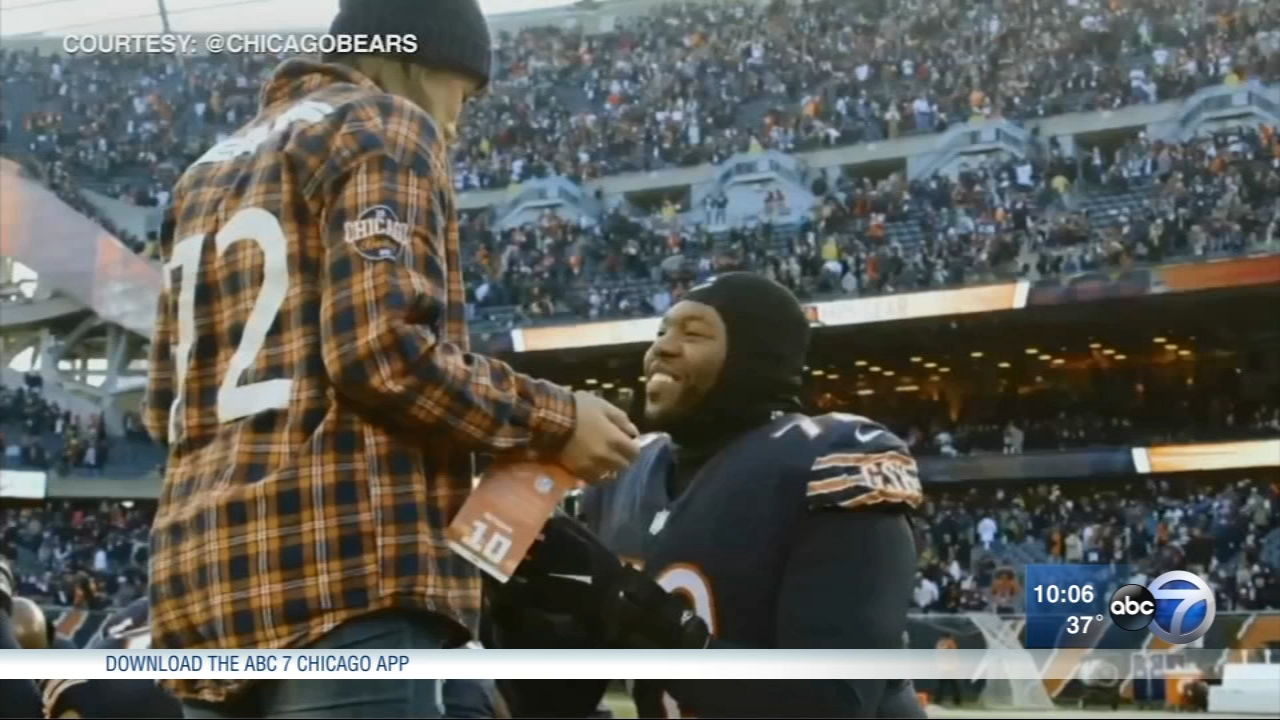 Chicago Bears player Charles Leno proposed to his girlfriend, Jennifer Roth, after the Packers game on Sunday.