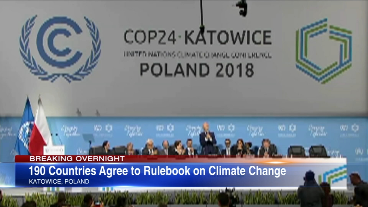 Nearly 200 countries at the U.N. climate talks have agreed upon universal, transparent rules on how nations can cut greenhouse gas emissions and curb global warming.