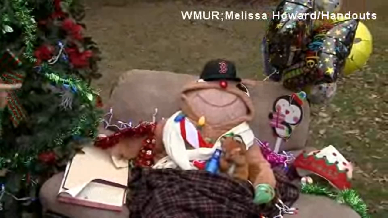 After someone complained about a chair left out on the lawn, a New Hampshire womans neighbors began decorating it for the holidays.