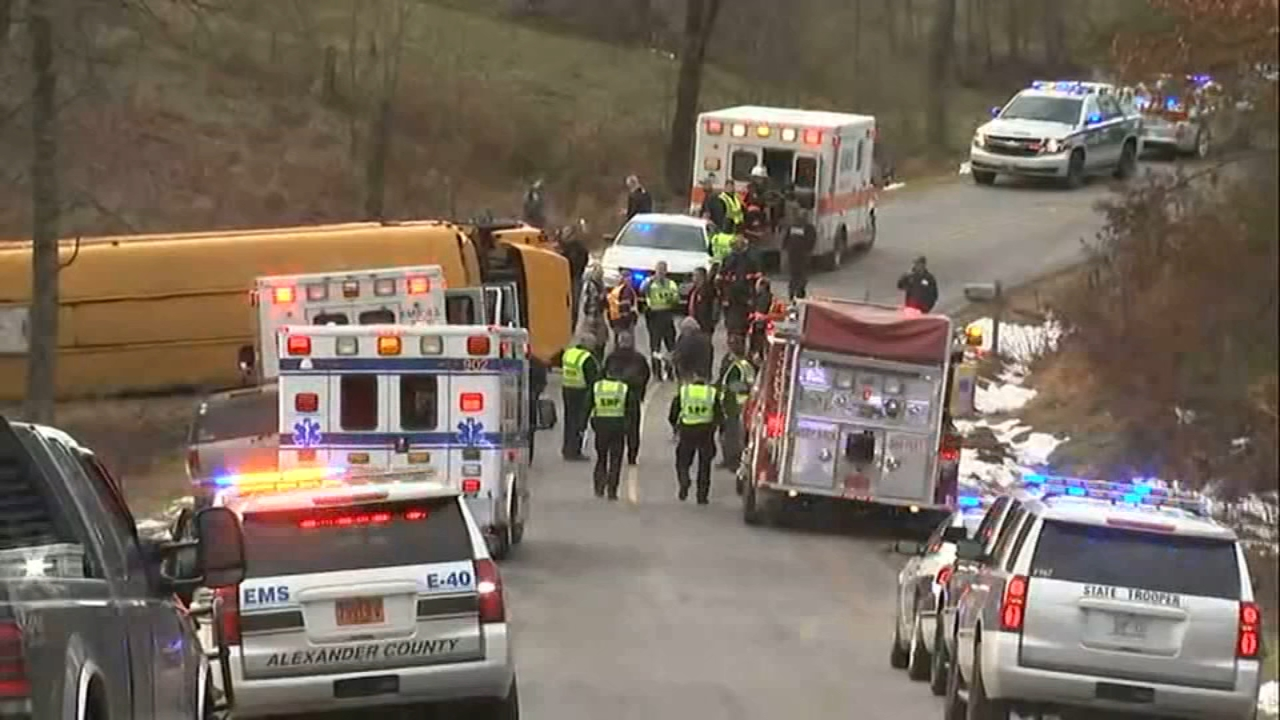 13 students in North Carolina were injured when a school bus overturned.