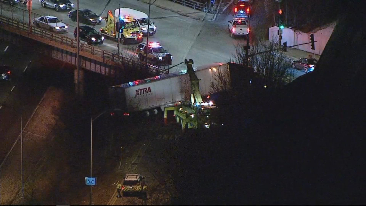 The Foster Avenue exit is closed on the outbound Kennedy Expressway Monday morning because of a semi-truck that crashed and is partially hanging over the ramp.