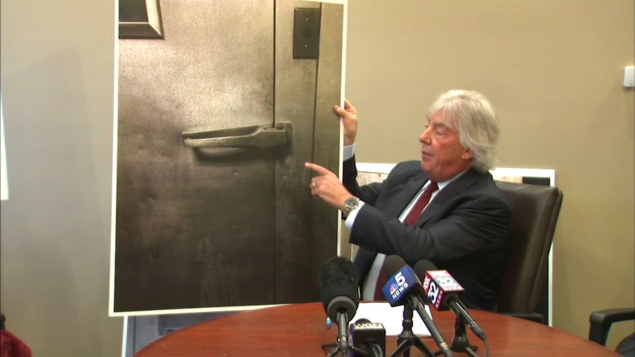 Attorney Geoffrey Fieger presented blown up photographs of the freezer door, alleging it was inadvertently locked from the outside after Kenneka Jenkins went in.