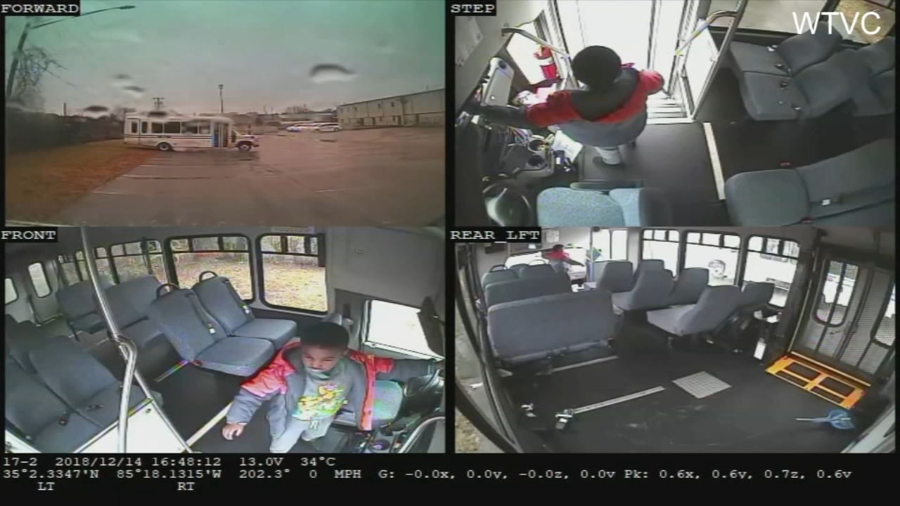 Surveillance video shows a 5-year-old boy crying out for help after he was left alone on a bus.