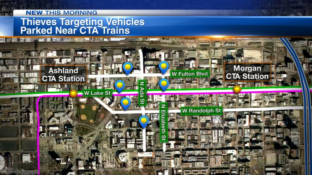 Thieves are targeting vehicles parked near Pink and Green Line trains on Chicagos Near West Side, police say.