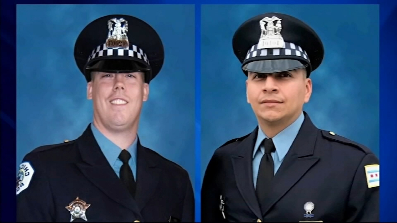 Funerals for two Chicago police officers fatally struck by a train Monday night will take place on Saturday.