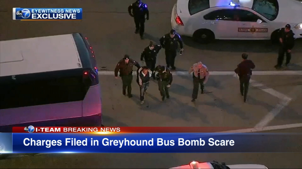 The Greyhound bomb threat on Wednesday, Dec. 5, disrupted rush hour traffic on Chicagos Kennedy Expressway and has now resulted in charges.