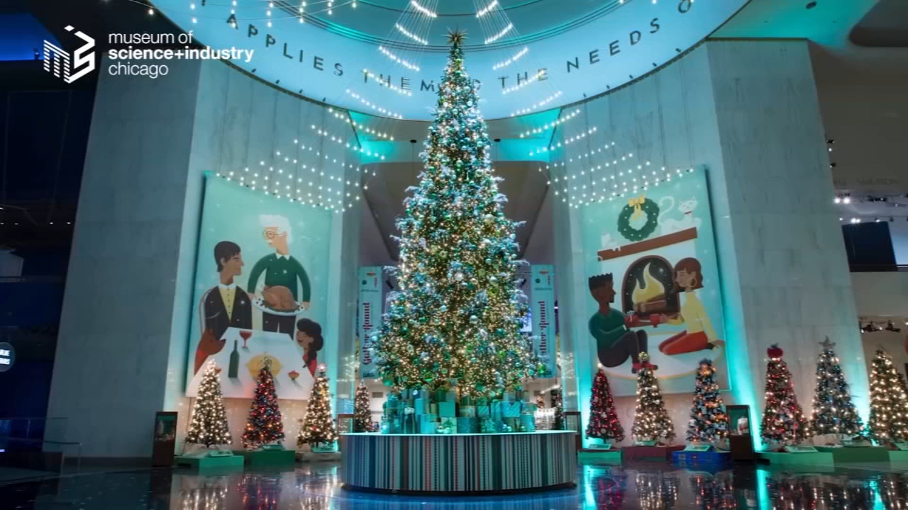 The Museum of Science and Industry released a time-lapse video showing how it decorates for the holiday season.