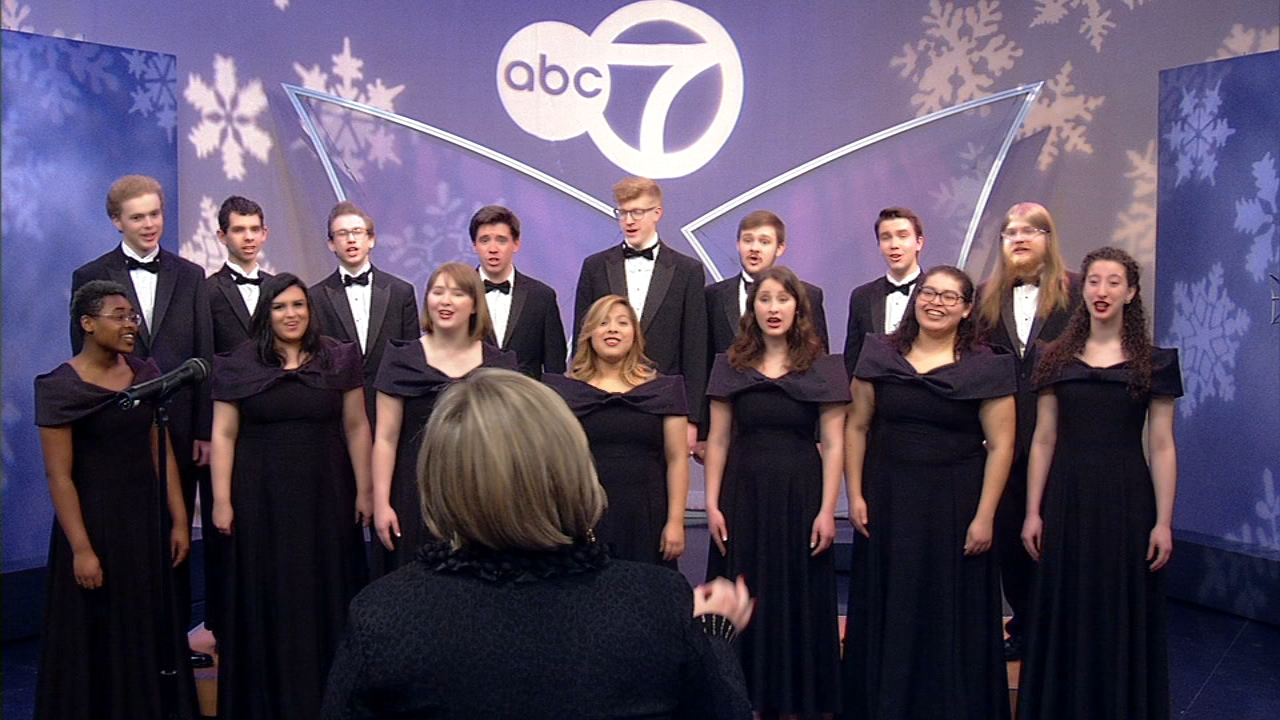 The Elmhurst College Chamber singers performed holiday-themed music on the ABC7 Weekend Morning Show.