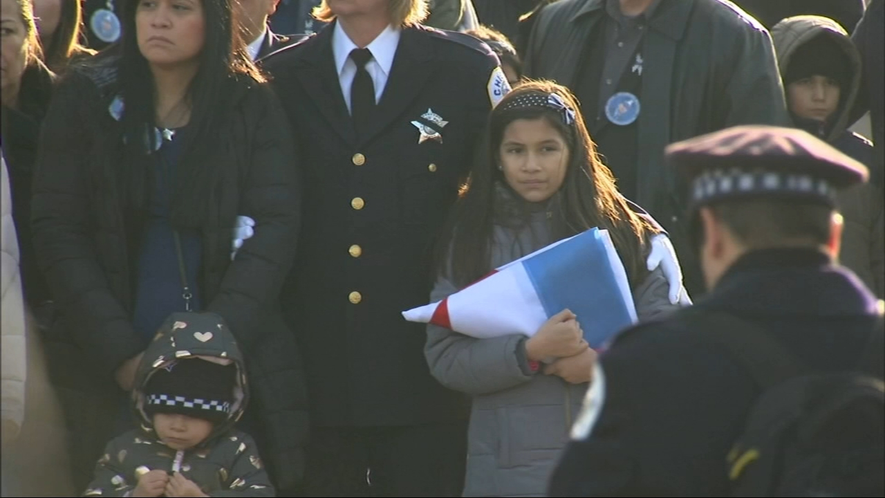 Family and friends remembered Chicago police Officer Eduardo Marmolejo at a funeral on Saturday.