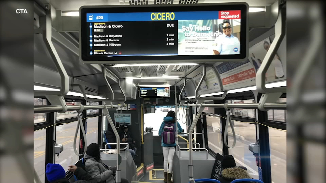 The displays offer passengers real-time travel and other information.