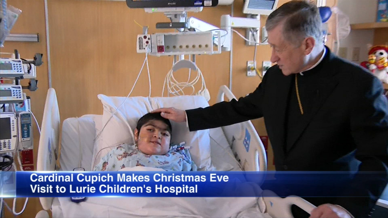 Cardinal Blase Cupich spent Christmas Eve morning with some young patients at Lurie Childrens Hospital.