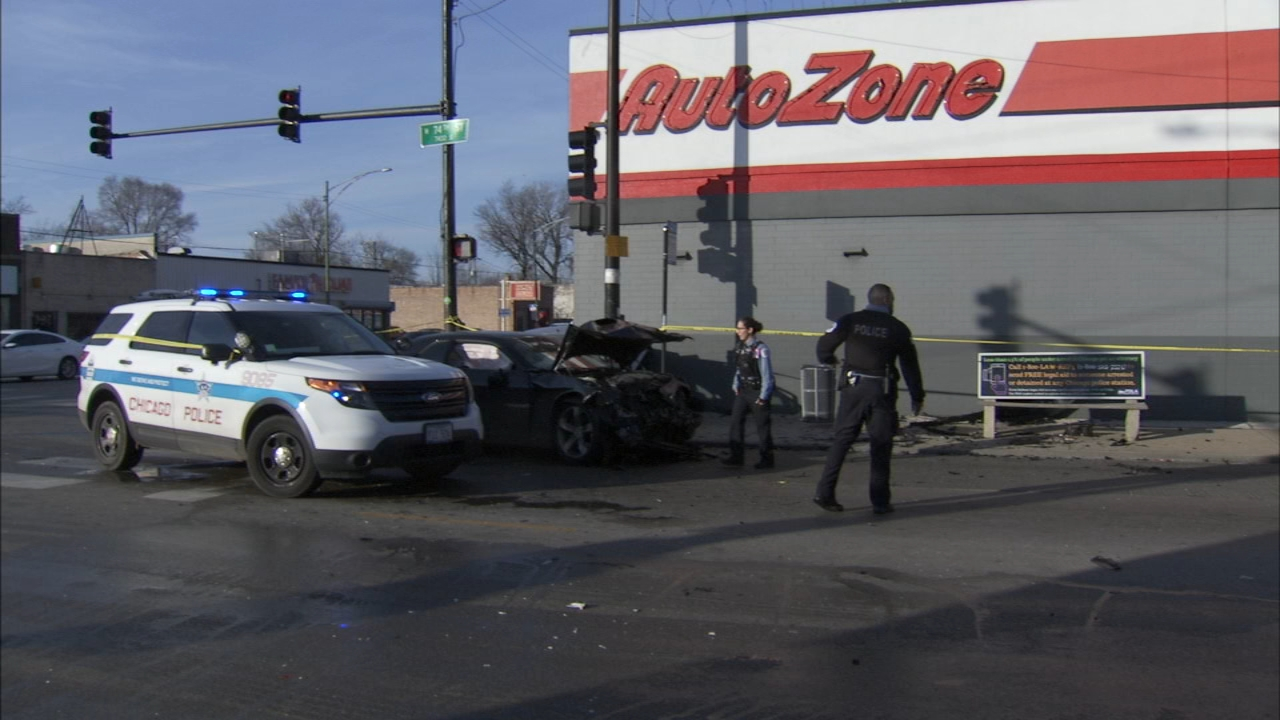 Five people were injured, two critically, after at least two vehicles collided, sending one of them into the side of an auto parts store on the citys South Side.