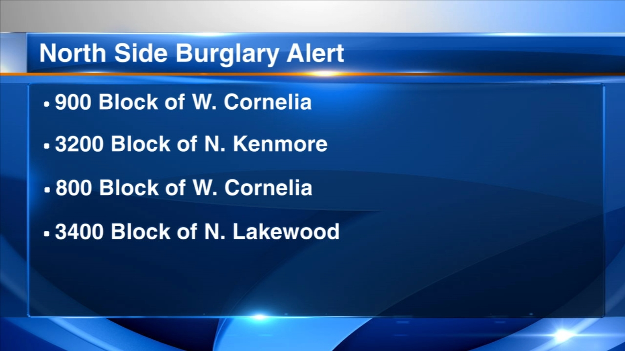Chicago police have issued an alert about a string of burglaries in the Lakeview neighborhood this month.