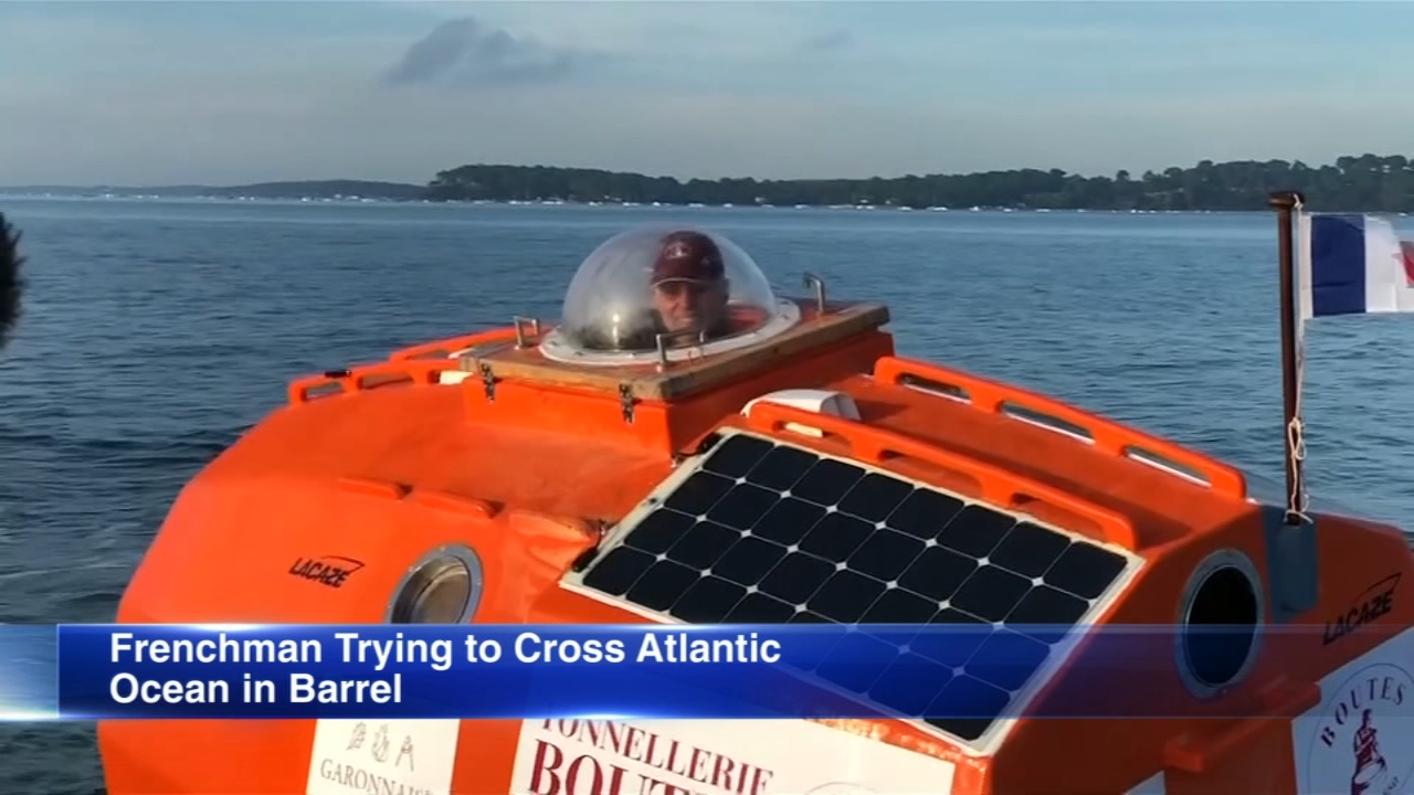 A 71-year-old Frenchman has set off across the Atlantic Ocean in a large orange barrel, hoping to float to the Caribbean by the end of March.