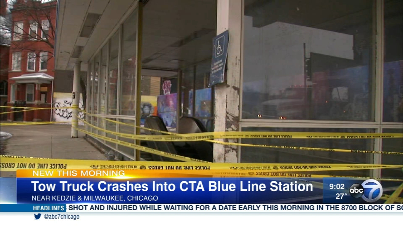 A multi-vehicle crash sent a tow truck careening into a CTA Blue Line station.