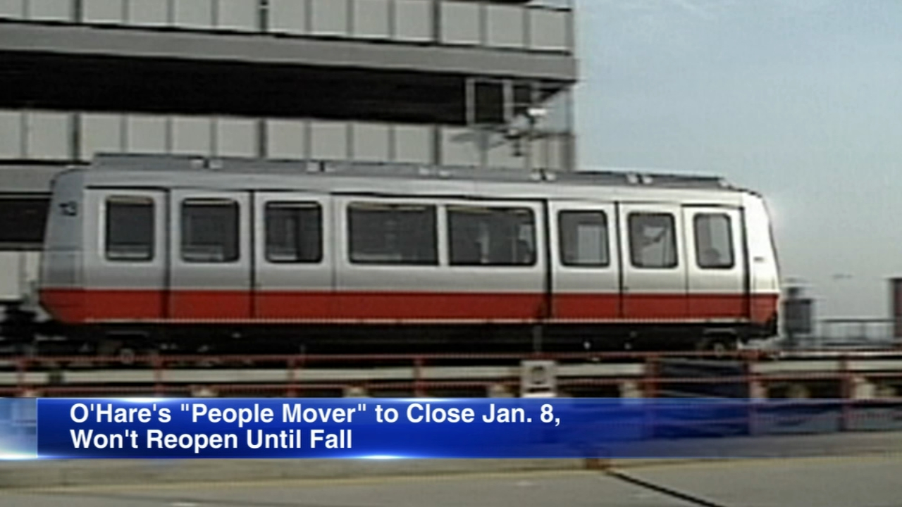 The people mover at OHare International Airport will close Jan. 8 and reopen in fall 2019.