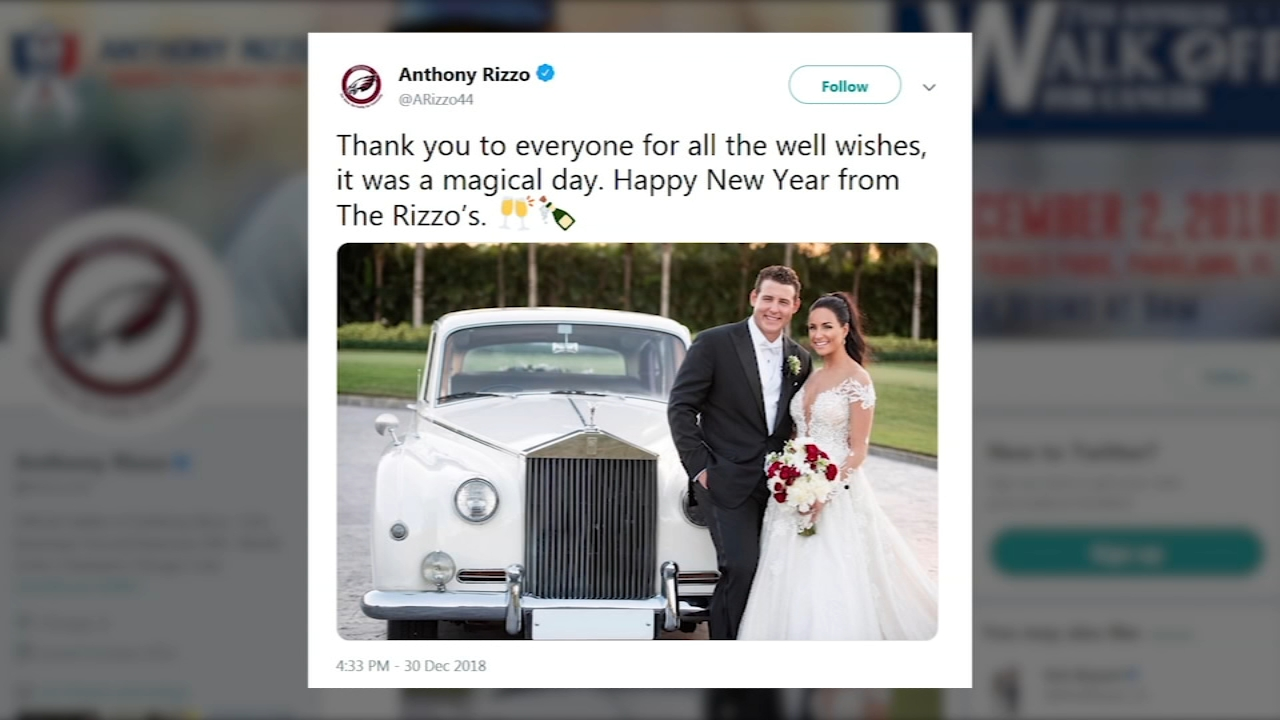 Cubs first baseman Anthony Rizzo got married over the weekend.