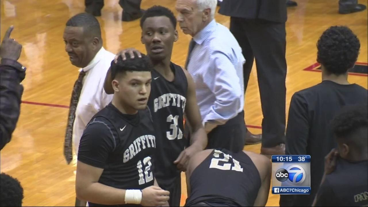 Griffith HS basketball taem returns to court after crash