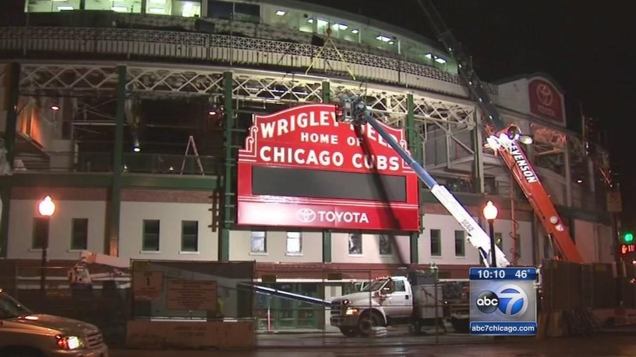 restored marquee returns to wrigley field for opening day