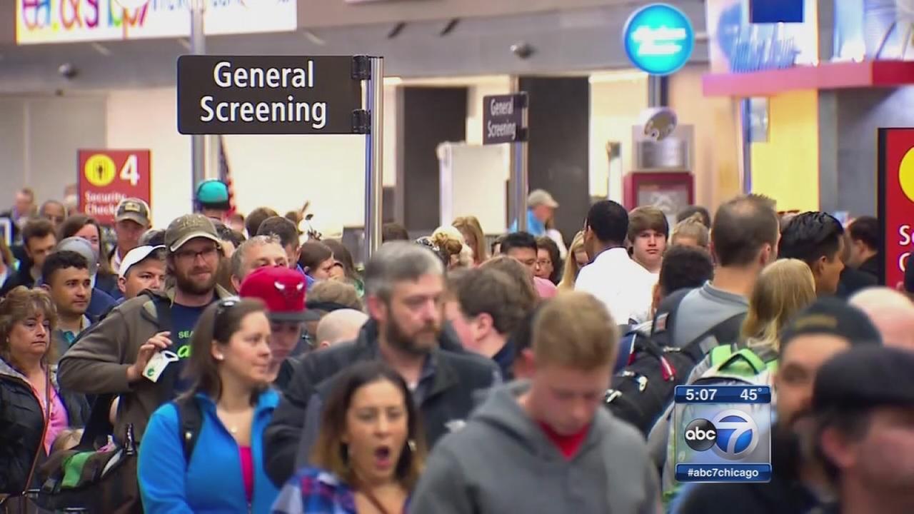 Long TSA screening lines at OHare, Midway