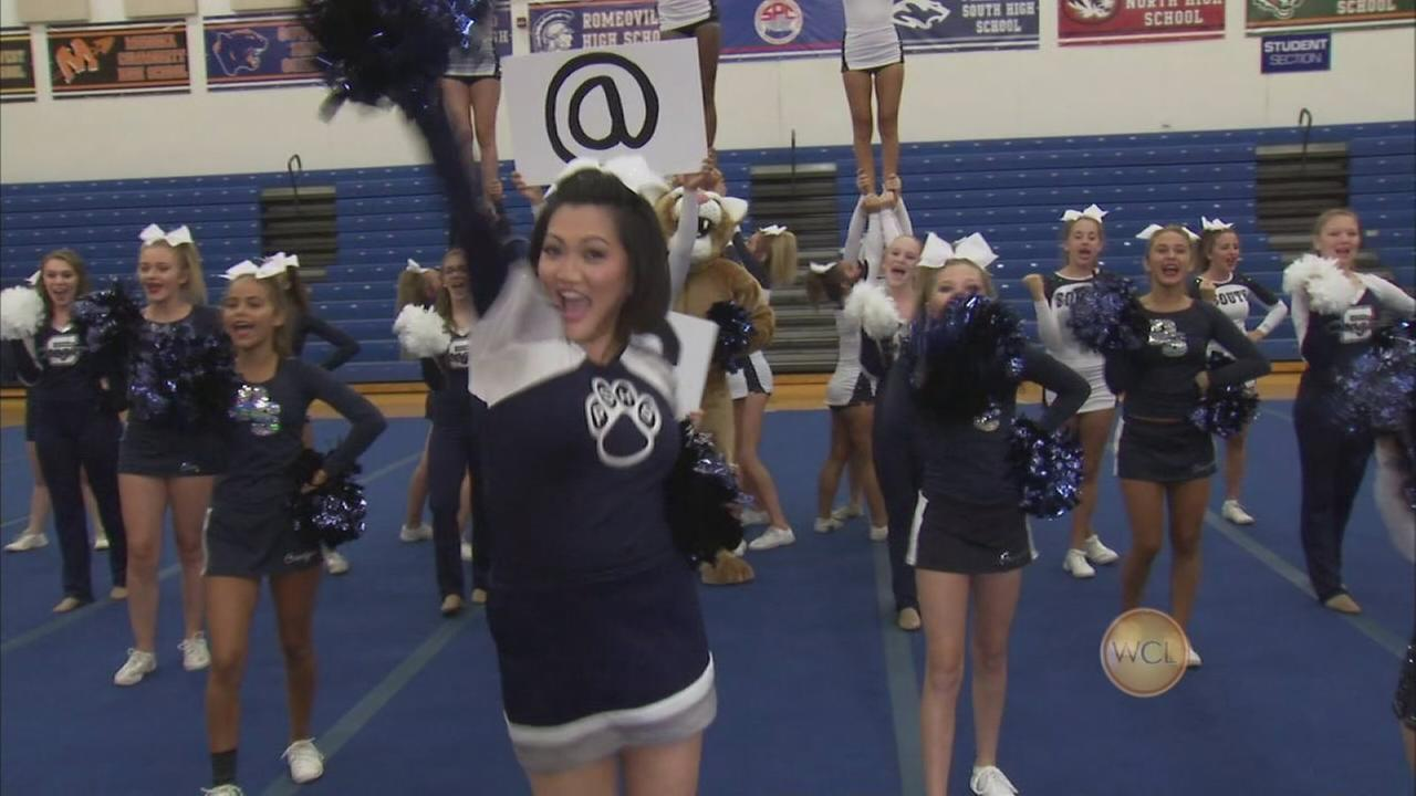 Ji cheers with Plainfield South HS