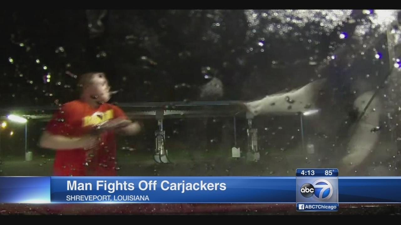 Man fends off carjackers with car wash hose