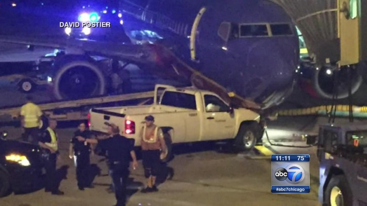 Man in boxers rams truck into plane