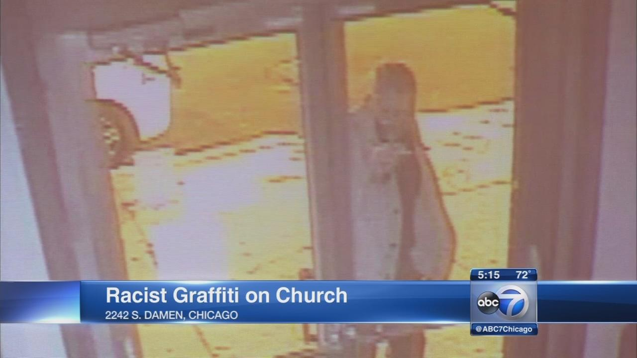 Pilsen church releases surveillace video of racist graffiti artist