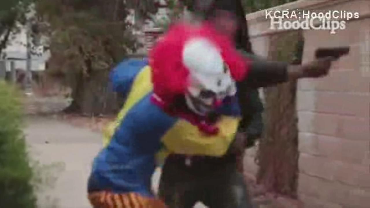 Man pulls gun on clown prankster