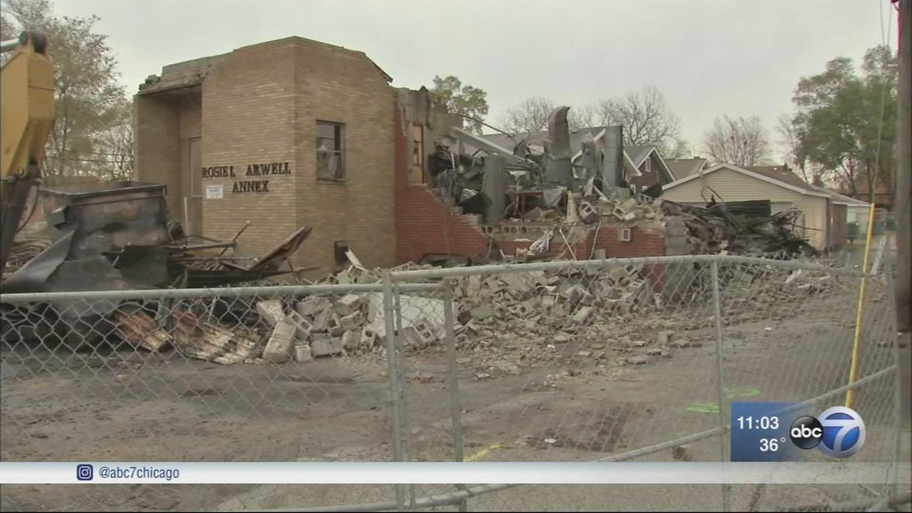 Explosion levels Hammond church
