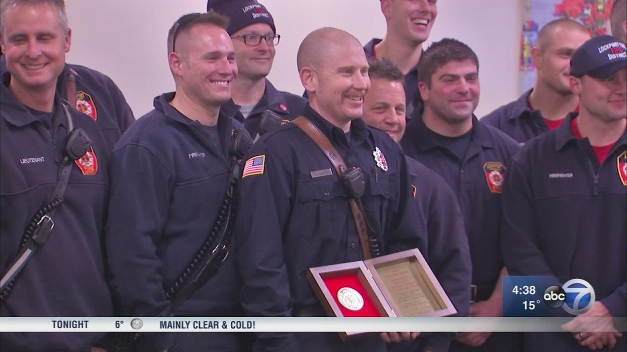Firefighter honored for heroism after Romeoville gas explosion