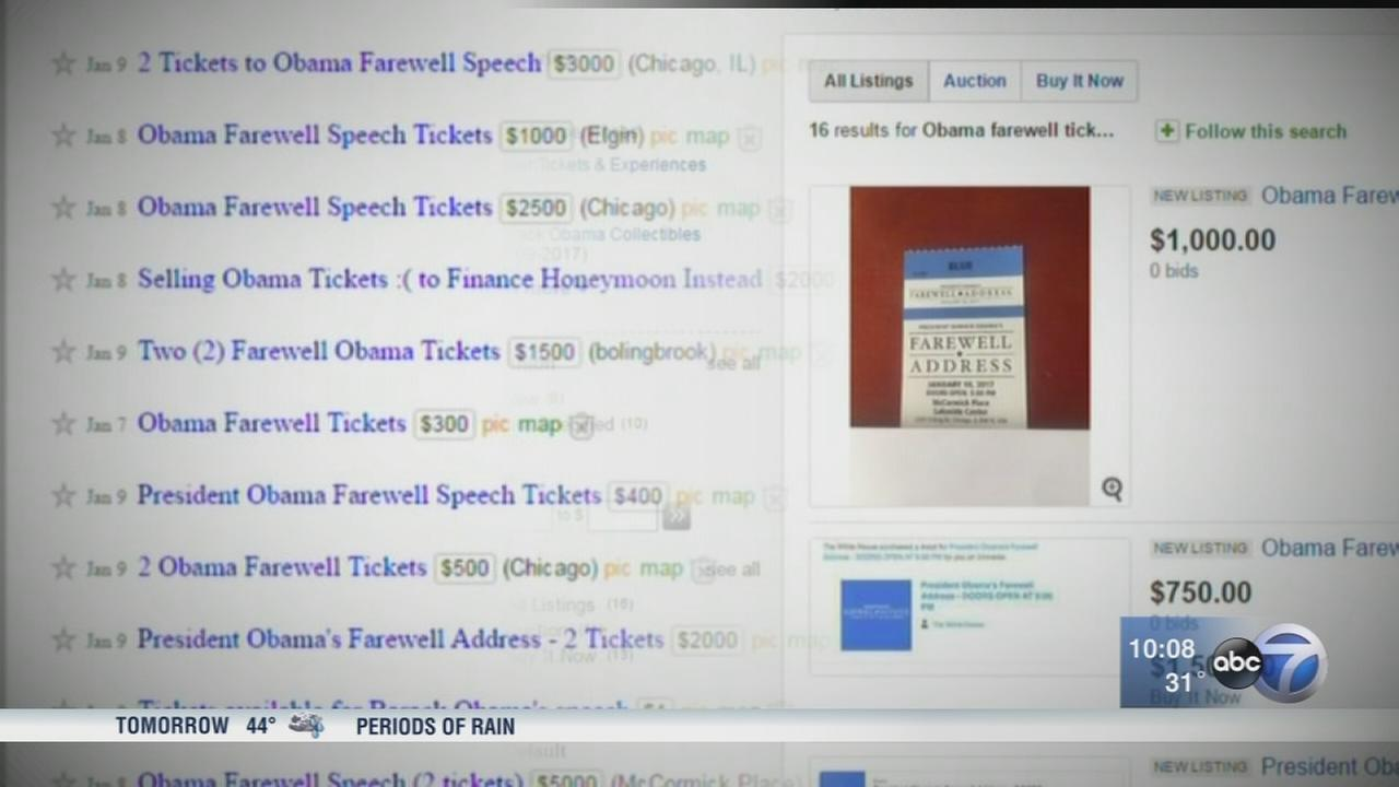 Tickets to Obama farewell selling for thousands