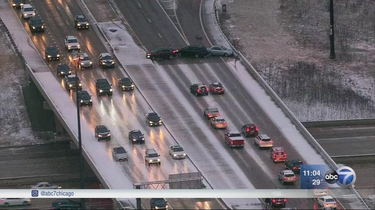 Several crashes reported on icy roads in southwest suburbs