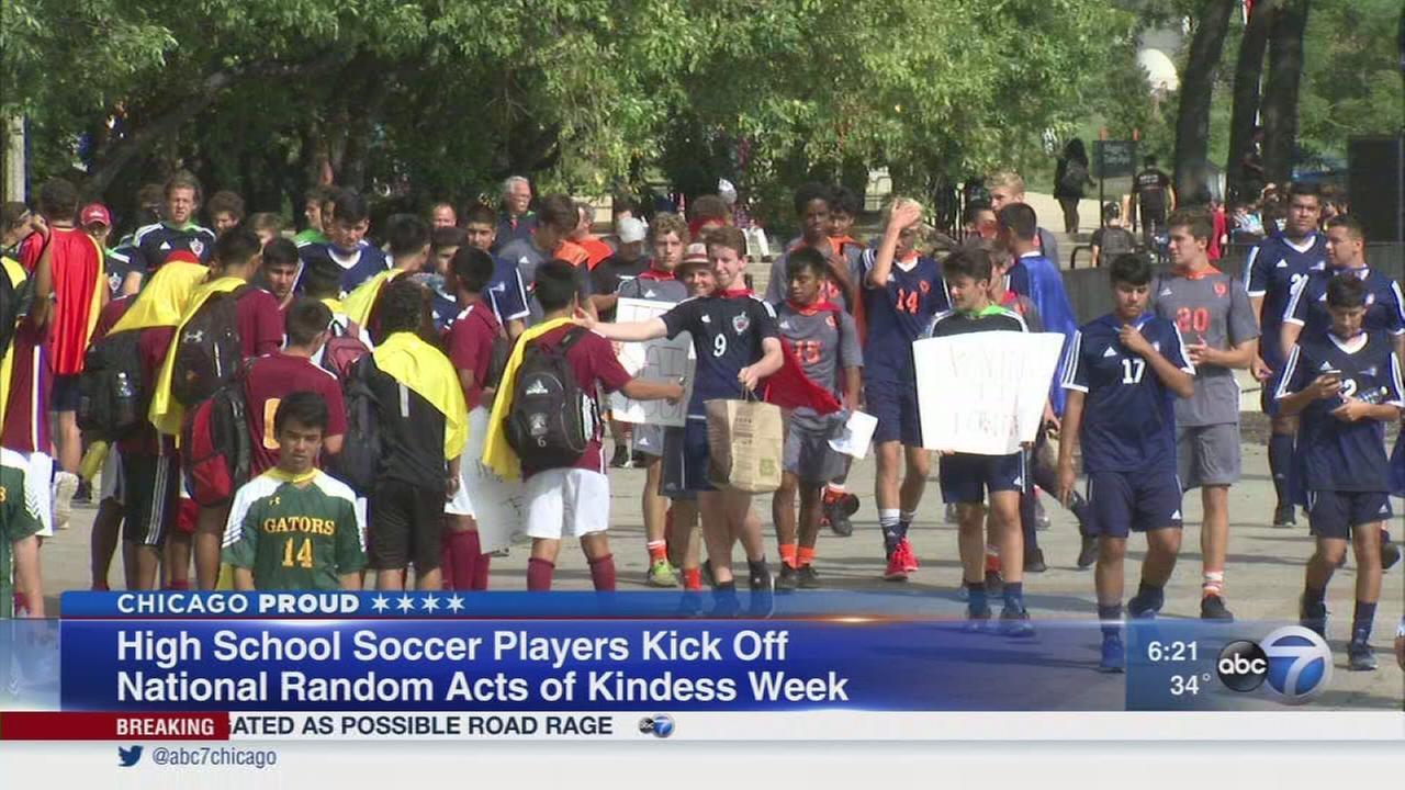 High school athletes kick-off Random Acts of Kindness Week
