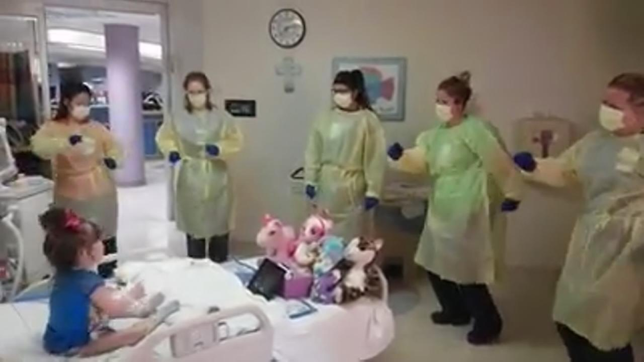 Nurses lift young patients spririts with Hokey Pokey