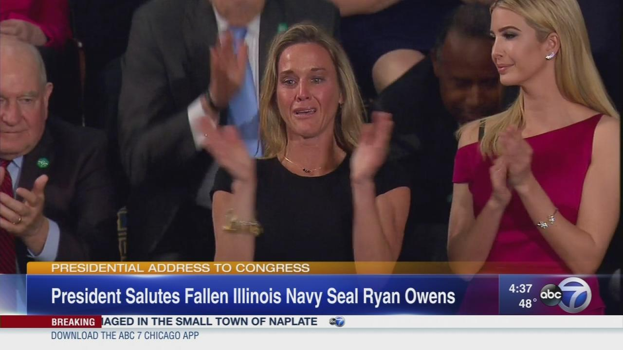 Trump salutes widow of slain seal