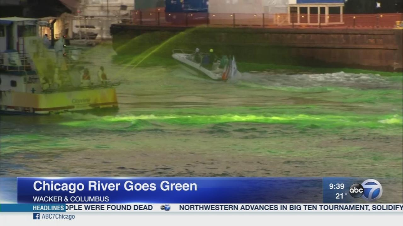 Chicago River dyed green for St. Patricks Day