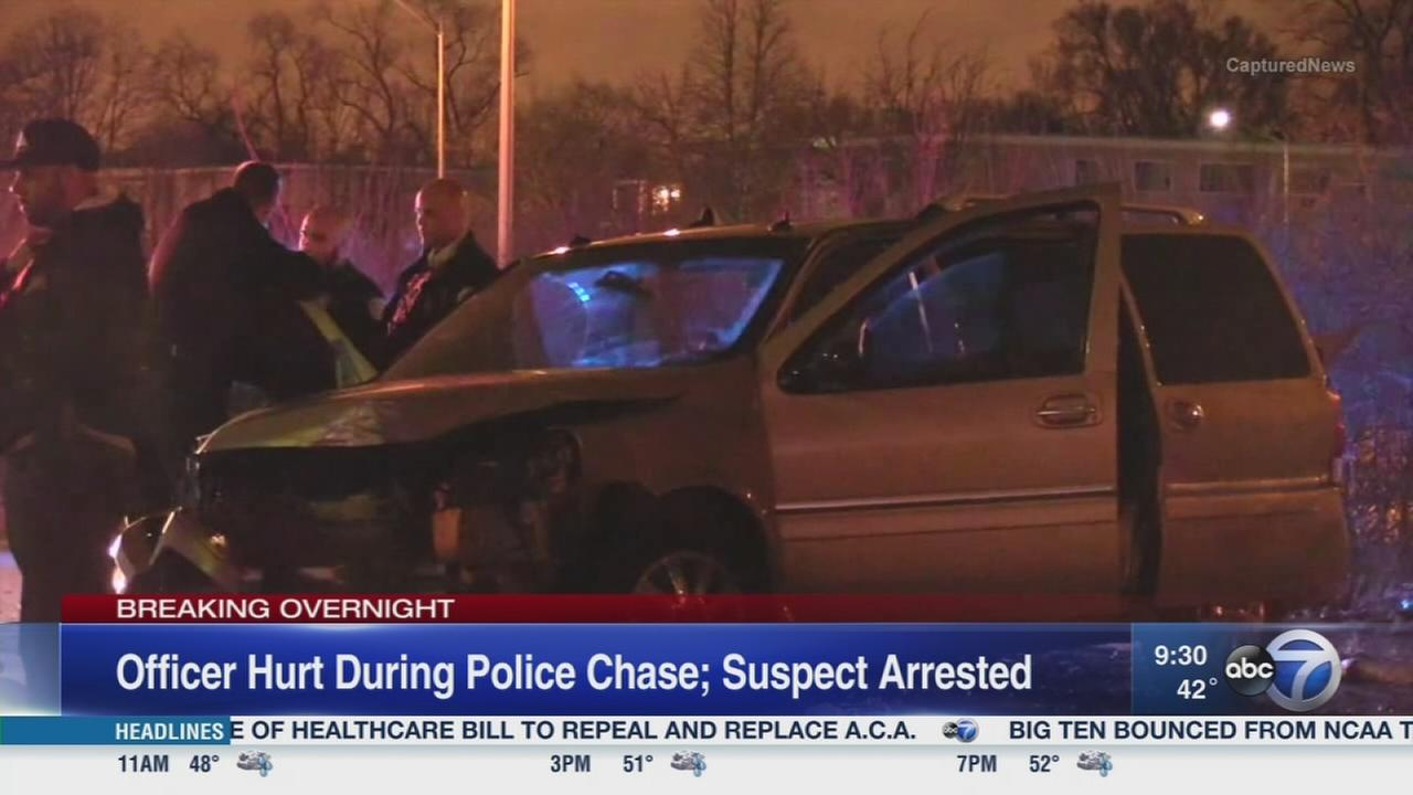 Officer injured after chase ends in suburbs