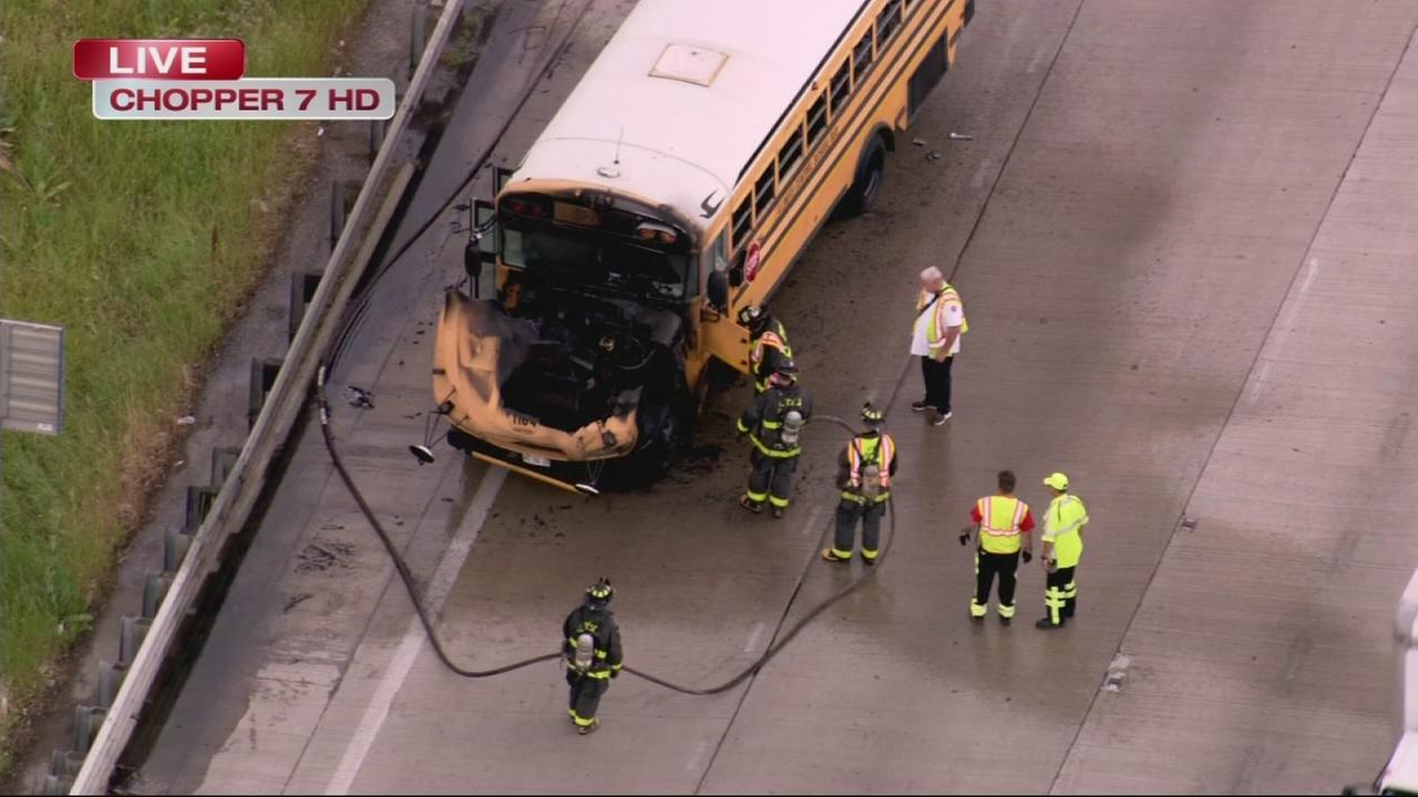 School bus catches fire on Dan Ryan