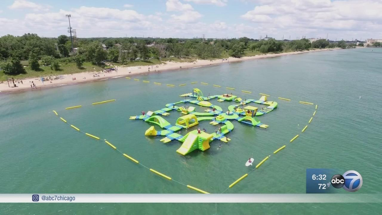 Floating Water Park Opens On Lake Michigan In Whiting Indiana Abc7chicago