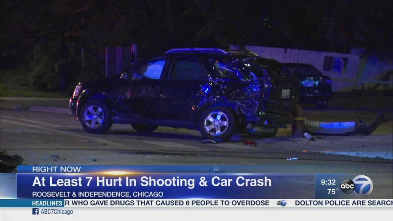 Several hurt after West Side shooting, crash