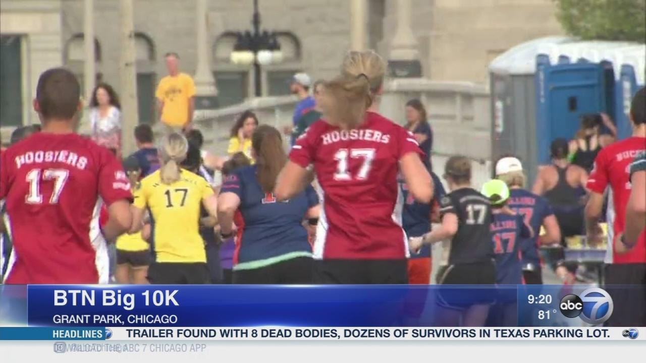 Football fans compete at the BTN Big 10K