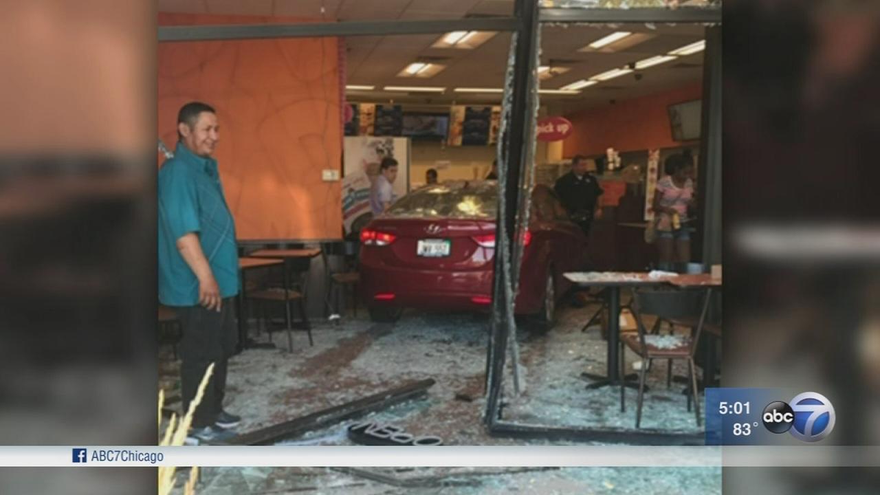 4 injured when car slams into Dunkin Donuts in Evanston