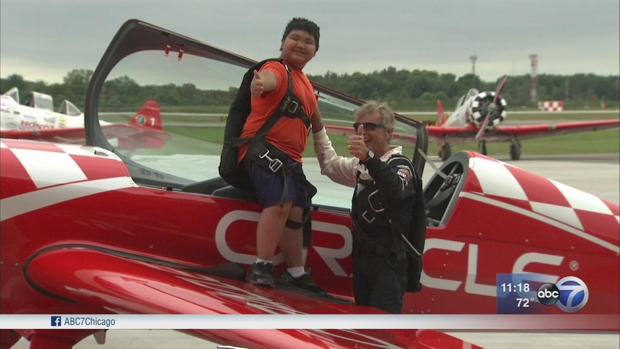 Boy takes flight with star pilot