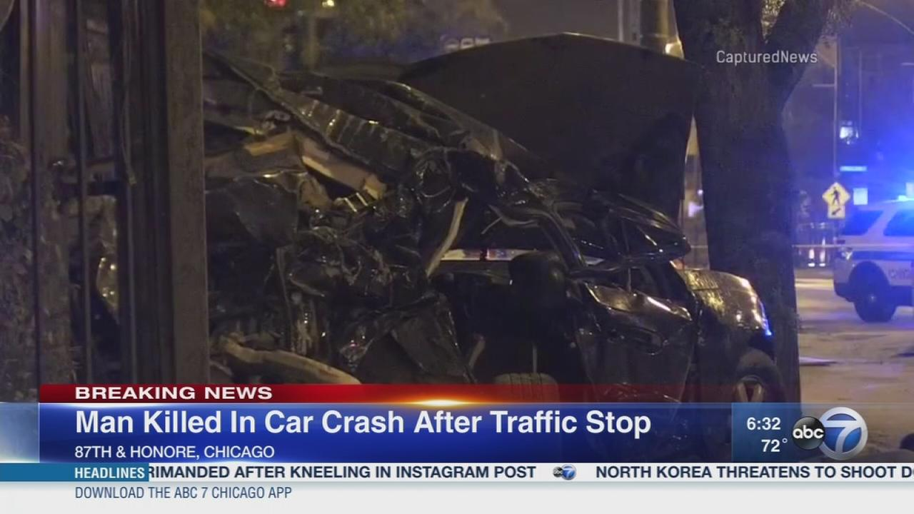 Man killed in crash after traffic stop