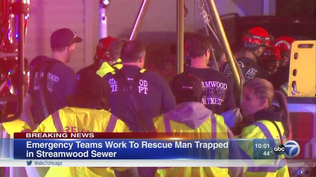 Police: Person stuck under manhole in sewer